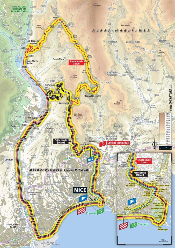 trasa 1. etapy Tour de France 2020