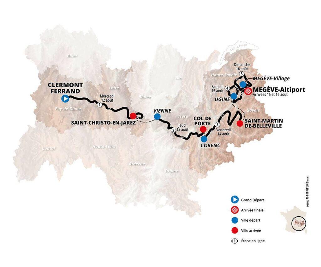 Mapa Critérium du Dauphiné 2020