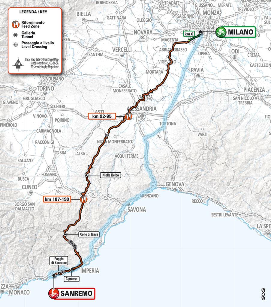 Mapa Miláno - San Remo 2020