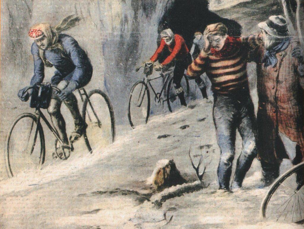 Ilustrácia Miláno - San Remo 1910. V snehovej búrke preteky dokoničli iba štyria