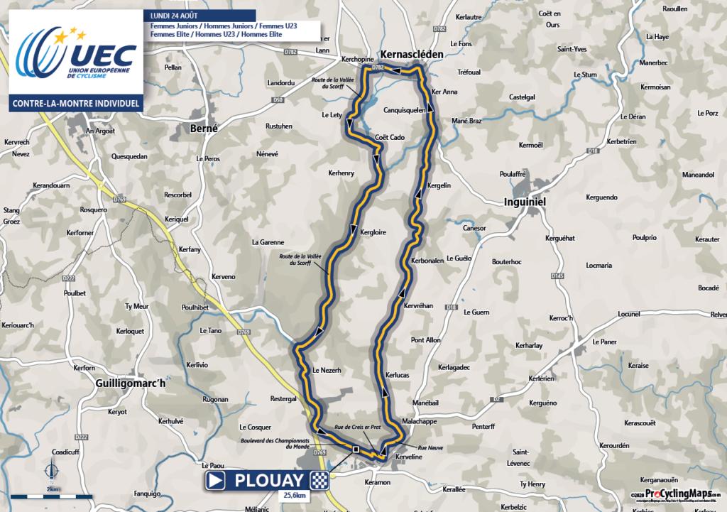 Majstrovstvá Euópy v cestnej cyklistike Plouay časovka trasa