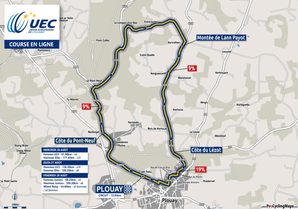Majstrovstvá Euópy v cestnej cyklistike Plouay cestné preteky trasa