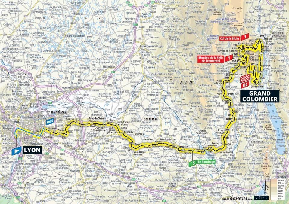 15. etapa Tour de France 2020 mapa