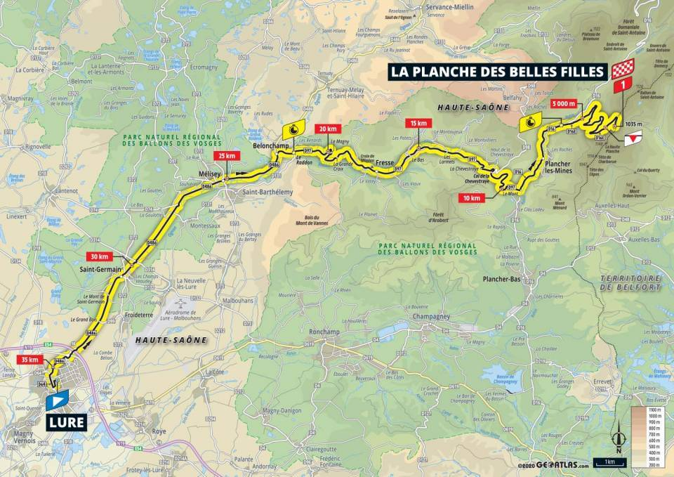 20. etapa Tour de France 2020 mapa