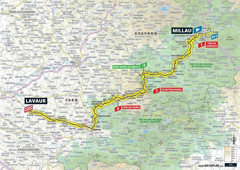 7. etapa Tour de France 2020 mapa