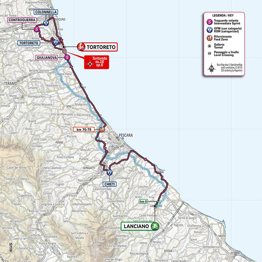 10. etapa Giro d'Italia 2020 mapa