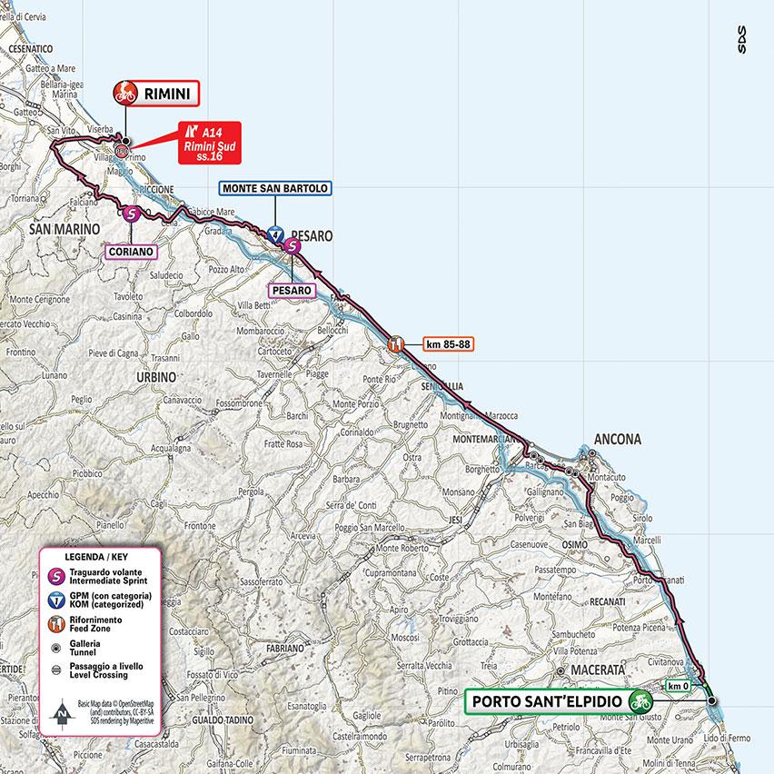 11. etapa Giro d'Italia 2020 mapa