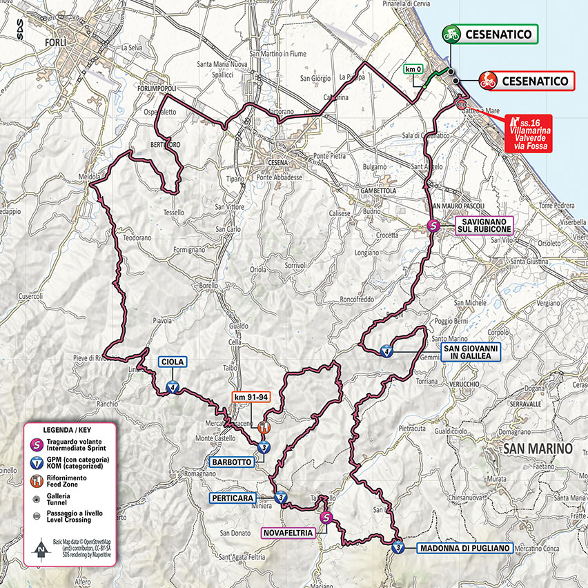 12. etapa Giro d'Italia 2020 mapa