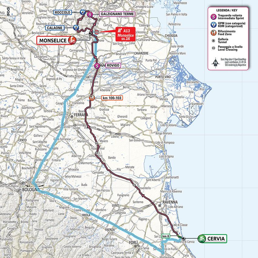 13. etapa Giro d'Italia 2020 mapa