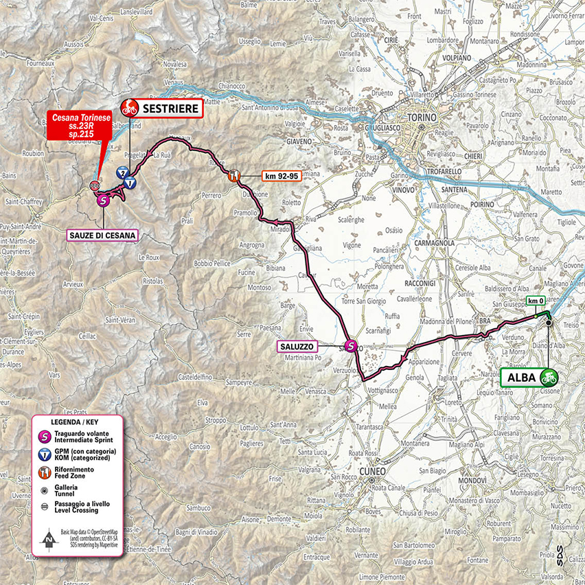 20. etapa Giro d'Italia 2020 mapa