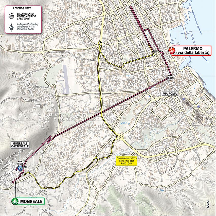 1. etapa Giro d'Italia 2020 mapa