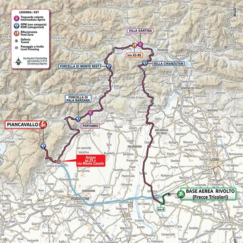 15. etapa Giro d'Italia 2020 mapa