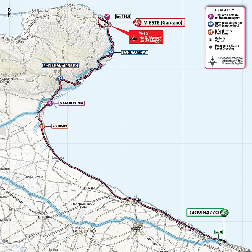 8. etapa Giro d'Italia 2020 mapa