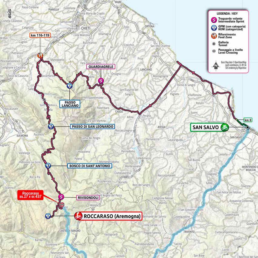 9. etapa Giro d'Italia 2020 mapa