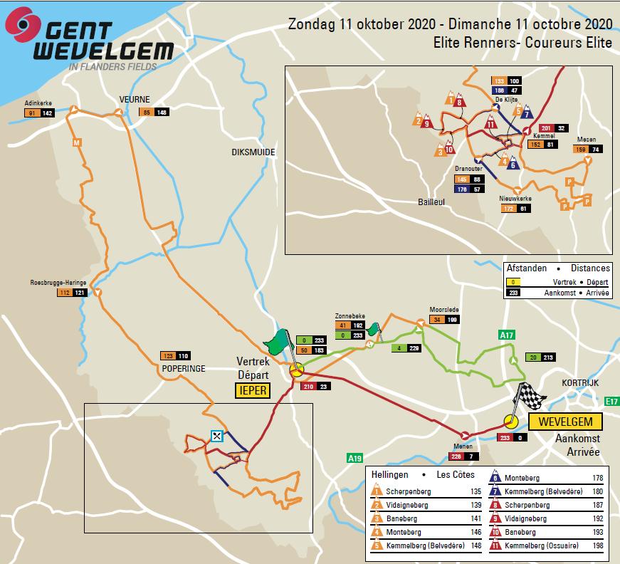 Gent-Wevelgem 2020 mapa