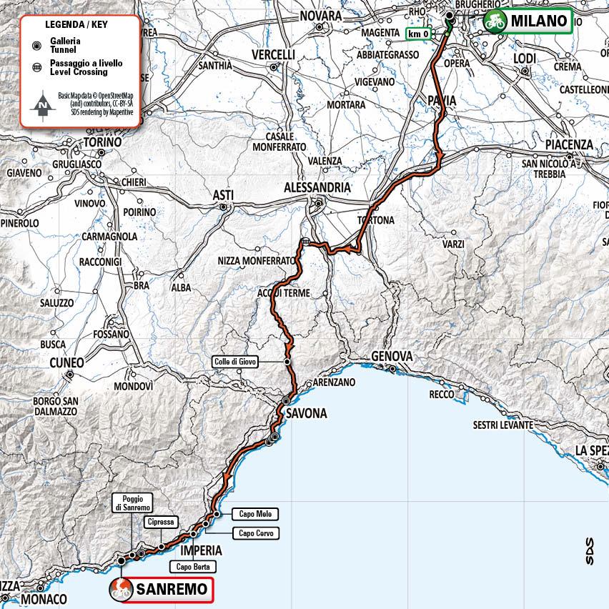 Trasa Miláno - San Remo 2021