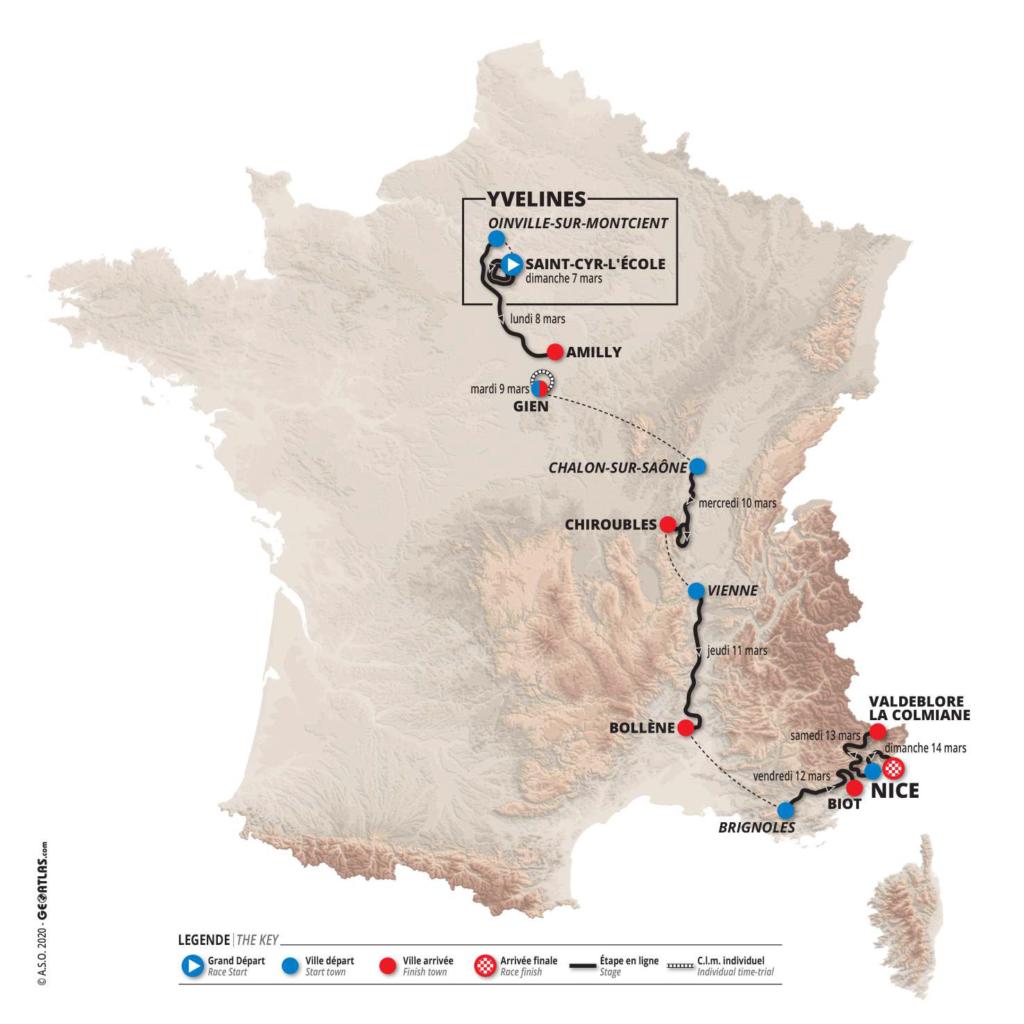 Mapa Paríž - Nice 2021