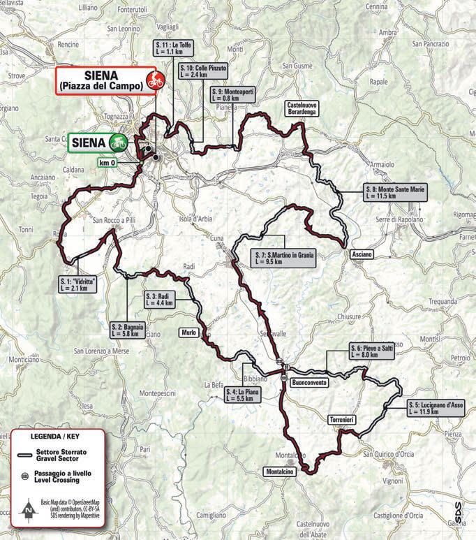Strade Bianche 2021 trasa
