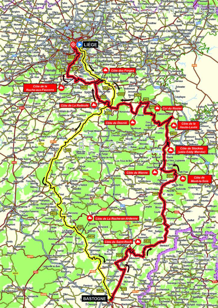 Trasa Liége - Bastogne - Liége 2021