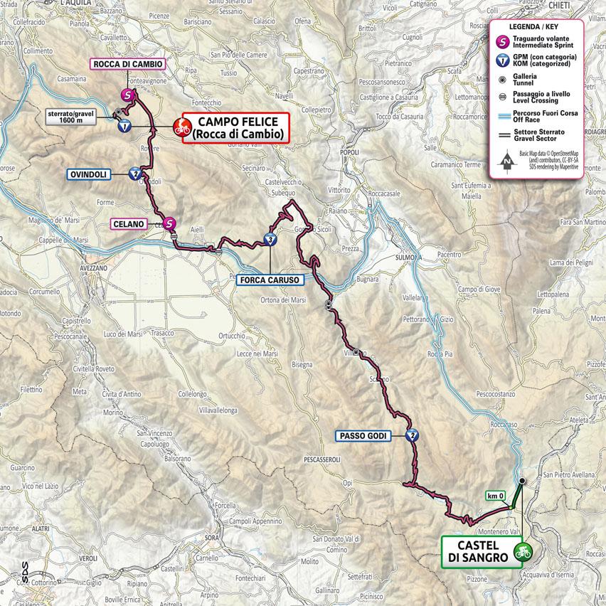 9. etapa Giro d'talia 2021 mapa