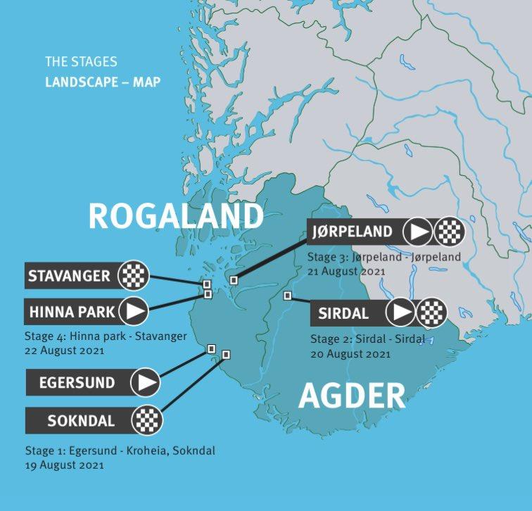 Okolo Nórska 2021 etapy a mapa
