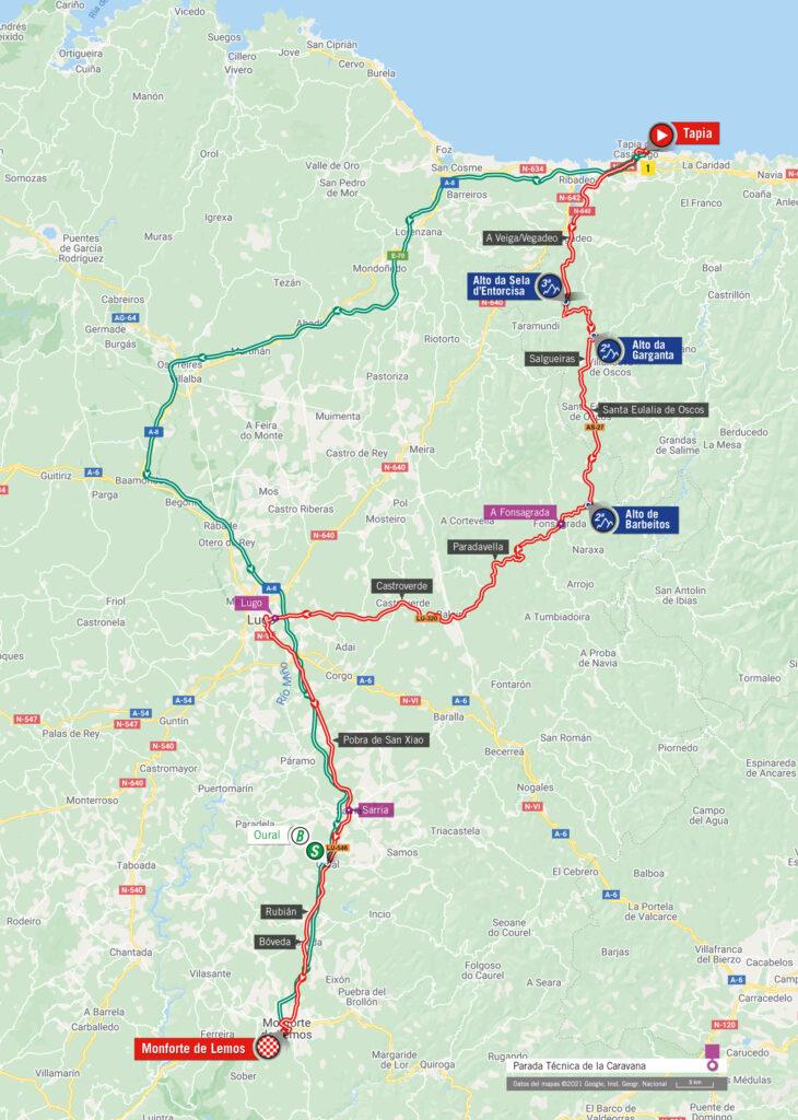 19. etapa Vuelta a Espaňa 2021 mapa trasa