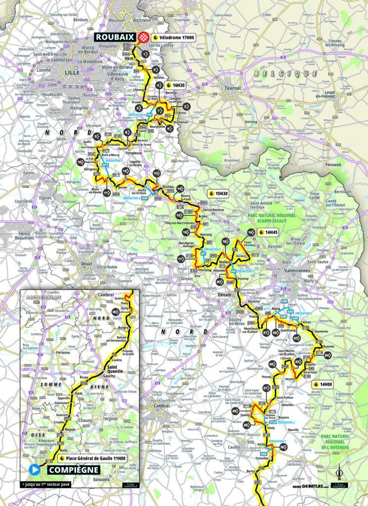 Paríž Roubaix 2021 mapa a trasa