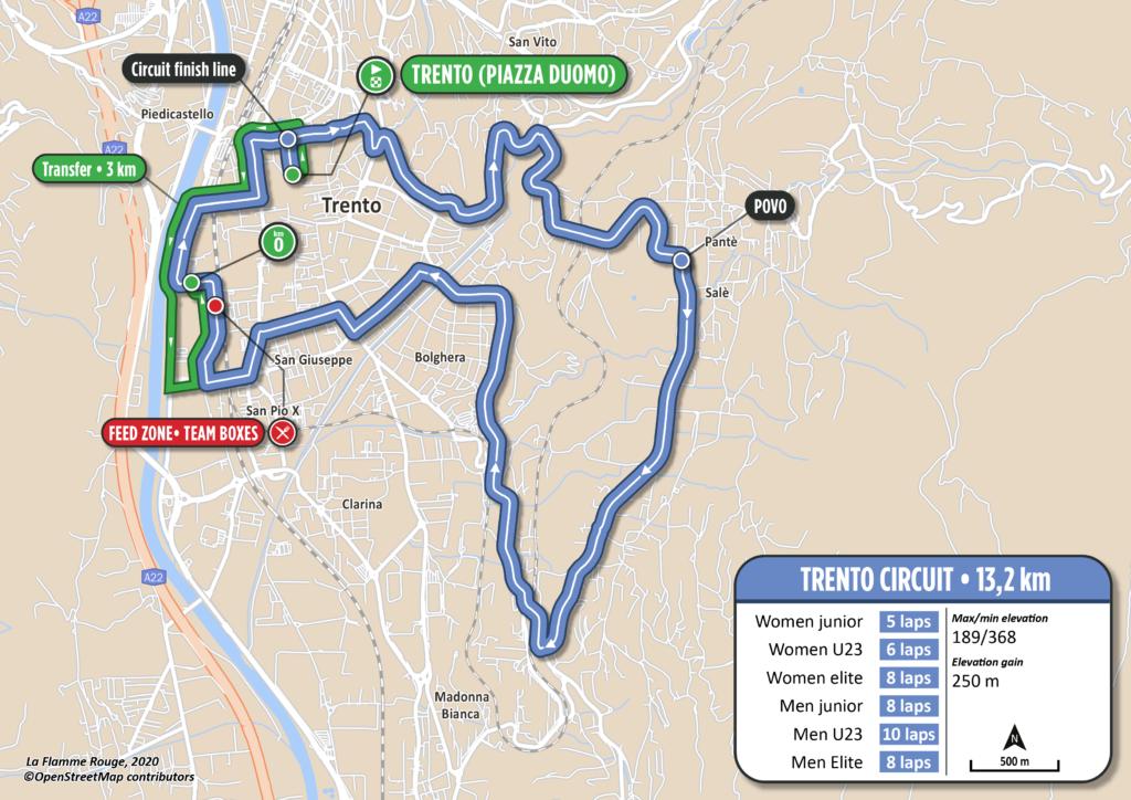Mapa okruhu Majstrovstvá Európy v cestnej cyklistike Trentino 2021