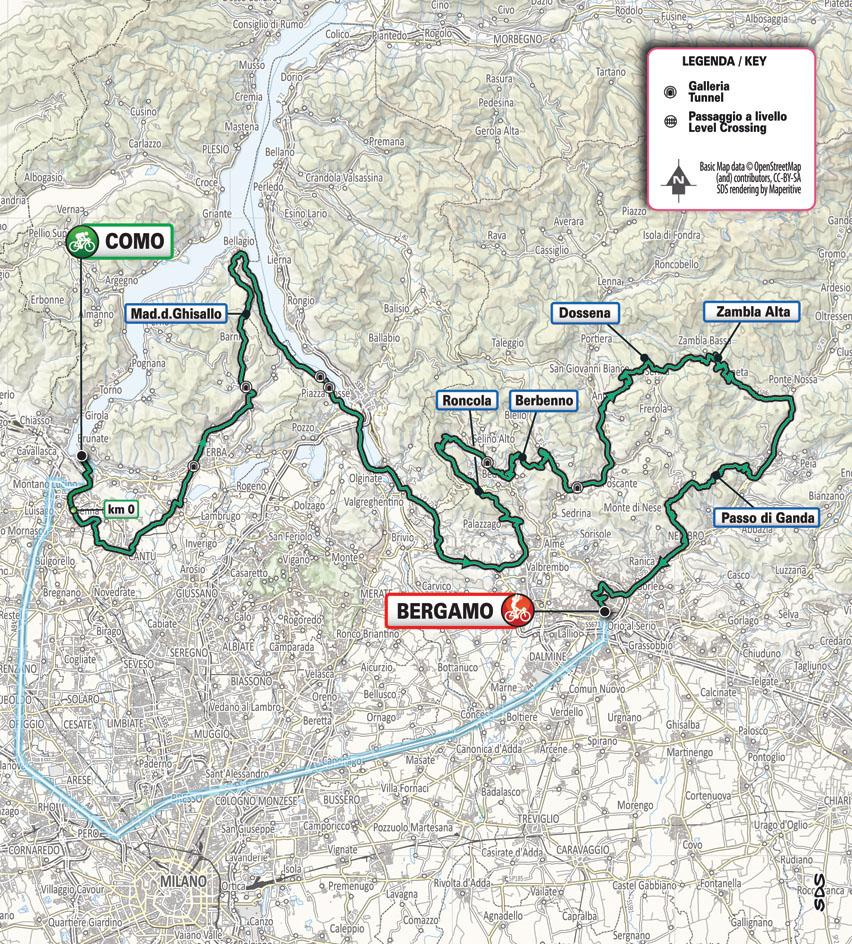 Okolo Lombardie mapa a trasa